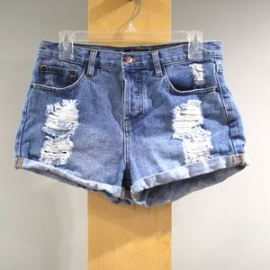 Forever 21 High Rise Jean Shorts Womens 28 Blue
